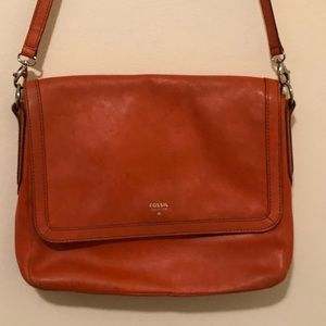 Fossil Orange Leather Crossbody Bag